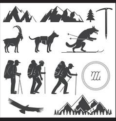 set of alpine club icon vector image vector image