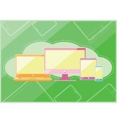 Set of display laptop computer smartphone vector image vector image