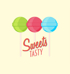 Set of lollipop candis on sticks with text three vector