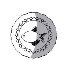 Sticker monochrome line contour with fish in vector