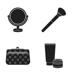 table mirror cosmetic bag face brush body cream vector image