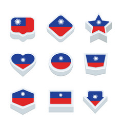 Taiwan flags icons and button set nine styles vector