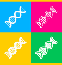 The dna sign four styles of icon on four color vector