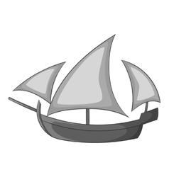Three sailing wooden ship icon vector