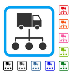 truck distribution links framed icon vector image