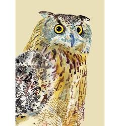 Watercolor painting of bird owl vector