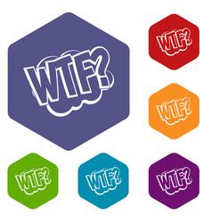 Wtf comic book bubble text icons set hexagon vector