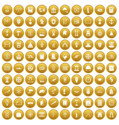 100 history icons set gold vector