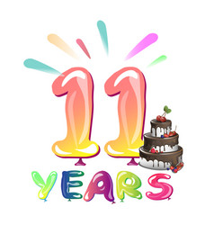 11 years anniversary celebration with cake vector