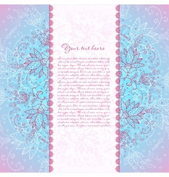 blue background with rose flower for text vector image