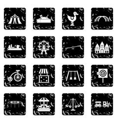 Amusement park icons set simple style vector