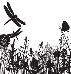 black and white silhouettes of nature vector image
