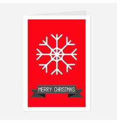 Big snowflake and black ribbon merry christmas vector