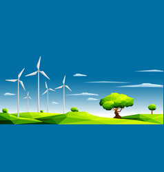 polygonal landscape with wind farm vector image