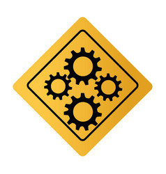 Color square road sign with gear wheels vector