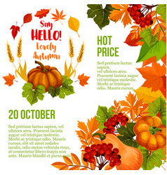 Autumn season sale poster template with fall leaf vector