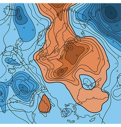 Map showing earth temperature flow vector