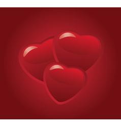 3 hearts vector image vector image
