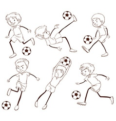 A group of soccer players vector