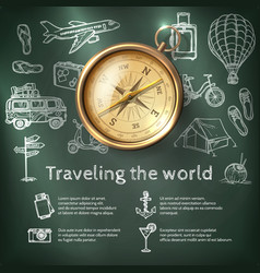 World travel poster with compass vector