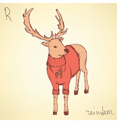 Sketch fancy reindeer in vintage style vector
