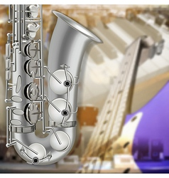Abstract music gray background with saxophone and vector