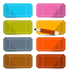 Colorful empty tickets set with pencil isola vector