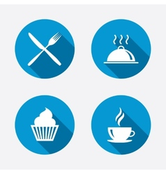 Food icons muffin cupcake symbol fork knife vector