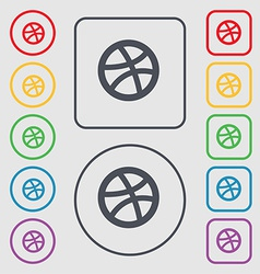 Basketball icon sign symbol on the round and vector