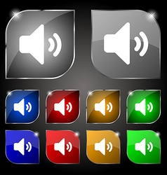 Speaker volume sound icon sign set of ten colorful vector