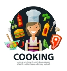 cooking logo design template fresh food vector image