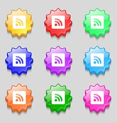 Rss feed icon sign symbol on nine wavy colourful vector