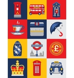 Flat style poster with london symbols and vector