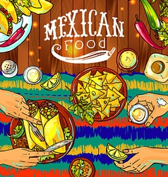 Beautiful hand drawn mexican food on the wood vector