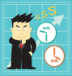 Cute stock market investor flat cartoon vector