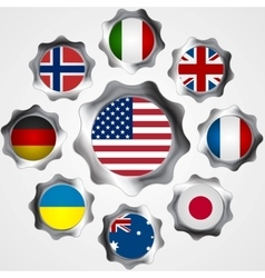 Usa influence metal gears and flags vector