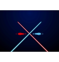 Red and blue glowing light swords vector