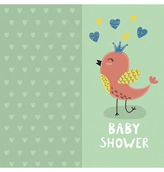 Baby shower invitation card with a cute bird vector
