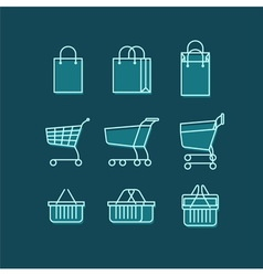 Shopping bag cart basket line web icons set vector