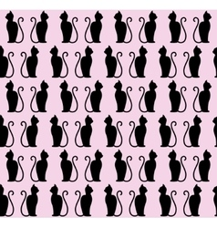 Black cat silhouette seamless pattern vector