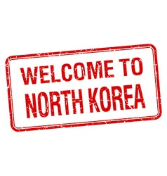 Welcome to north korea red grunge square stamp vector