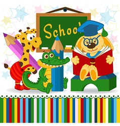Animals in school vector
