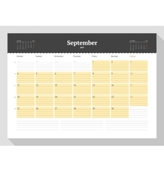 Calendar template for 2017 year september vector