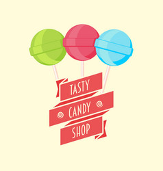 candy shop logo sign or symbol template with vector image