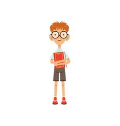 cartoon nerd schoolboy standing with book in hand vector image vector image