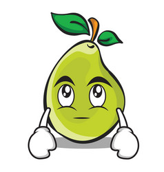 Eye roll pear character cartoon vector