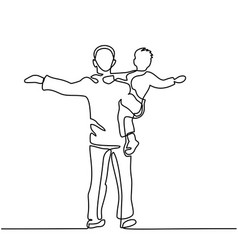 father with son in his arms vector image vector image