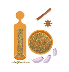 Fennel seeds in a wooden bowl and wooden shaker vector