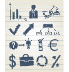 Finance doodle set vector