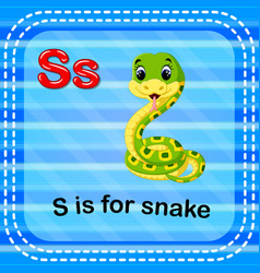 Flashcard letter s is for snake vector